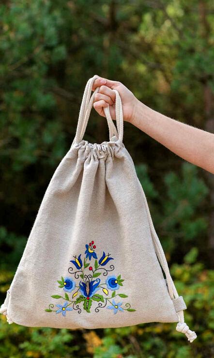 Plecak lniany z haftem tulipan