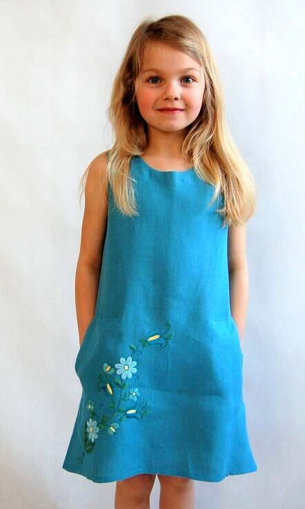 Sukienka lniana z haftem Margareta