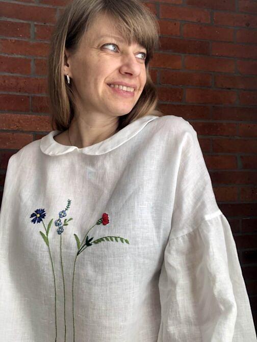 bluzka lniana z haftem