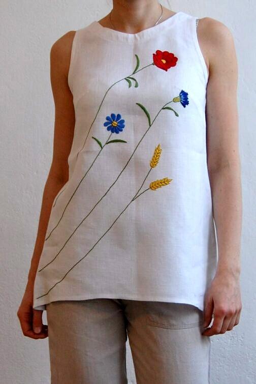 top lniany, ręcznie haftowany, haft kaszubski