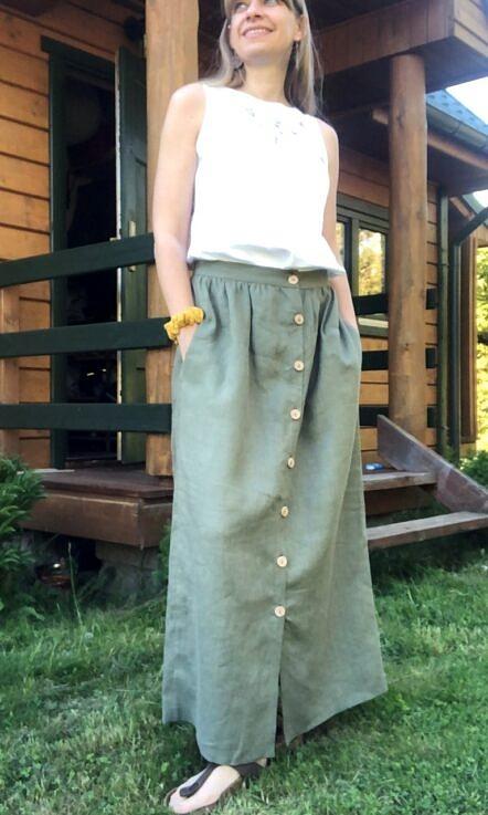 Spódnica z guzikami, polski len